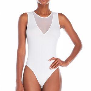 Sugarlips white mesh vee bodysuit.  NWT.  Awesome.